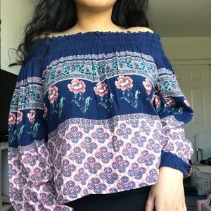 Off-the-Shoulder Long Sleeve Blouse from Hollister